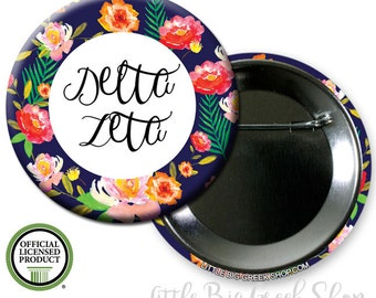 "Delta Zeta DZ Floral Single or Bulk 2.25"" Pinback Button"