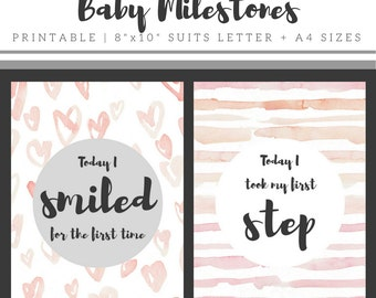 Baby Developmental Milestones Printable, Printable Baby Photo Prop, Printable Baby Milestone Photo Prop, Printable Baby Milestone Card