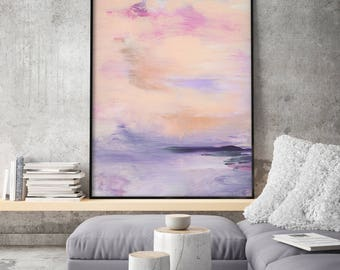 Large Print Giclee of Original Wall Art, Acrylic Abstract Painting, Pink Purple Violett Pastel Colors, Minimalist Landscape Reproduction Art