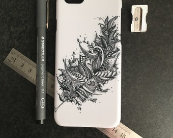 Light As A Feather Phone Cover, Zentangle iPhone 6 Case, Boho Phone Case Artwork, iPhone Cover, Feather Phone Case, Hippie iPhone 6 Cover,