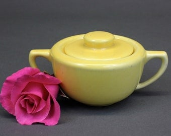 Vintage Yellow Ceramic Sugar Bowl with Lid | California Pottery Monterey Moderne Bauer |