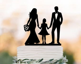 family silhouette wedding cake toppers and groom with and boy silhouette 14183