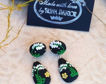 Earrings of filigree - Earrings Handmade - Earrings Polymer Clay - Earrings black-green
