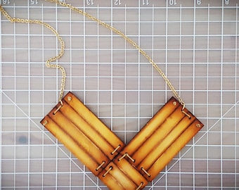 Arrow Lazer Cut Statement Necklace / Laser Cut Wood Necklace / OOAK / Gold Chain / Special For Her