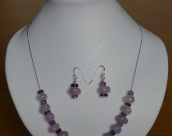 Amethyst necklace and earring set, sterling silver fittings, necklace approx 17""