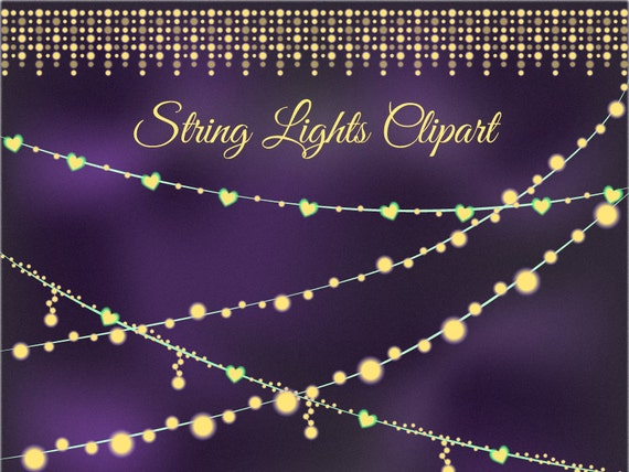 Sale 30% Hearts clipart string lights clip art sparkling