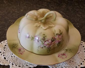 Nippon Round Butter Dish 1980 Green Mist Reproduction