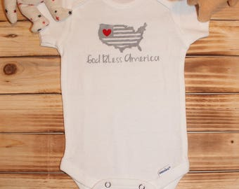 God Bless America - Fourth of July - Independence Day - patriotic baby onesie - summer baby onesie - cute baby onesie -July baby