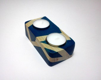 Decorative Candle Holder in Blue. Painted Wood Candle Holder. Modern Candle Holder. Small Unique Housewarming Gift. Table Centerpiece.