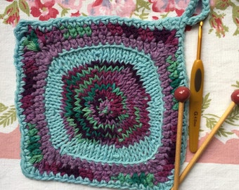 Potholder, Boho Style, Knit and Crochet, Personal Pattern