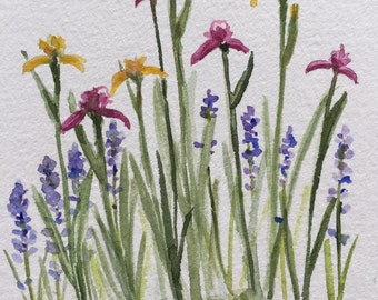 An Original Watercolor Note Card, Irises and Lavender
