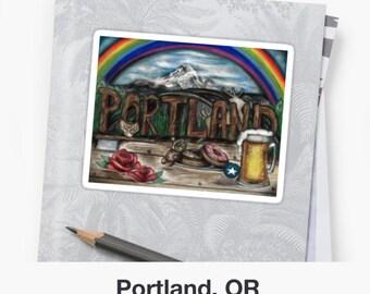 Portland, OR Original Art Sticket