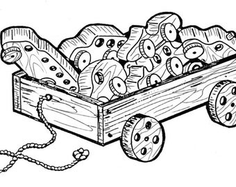 Wagon and Vehicles #911 - Woodworking / Craft Pattern. Same Size Drawings. Trace and Create
