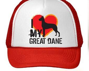 I Love My Great Dane Dog Trucker Hat