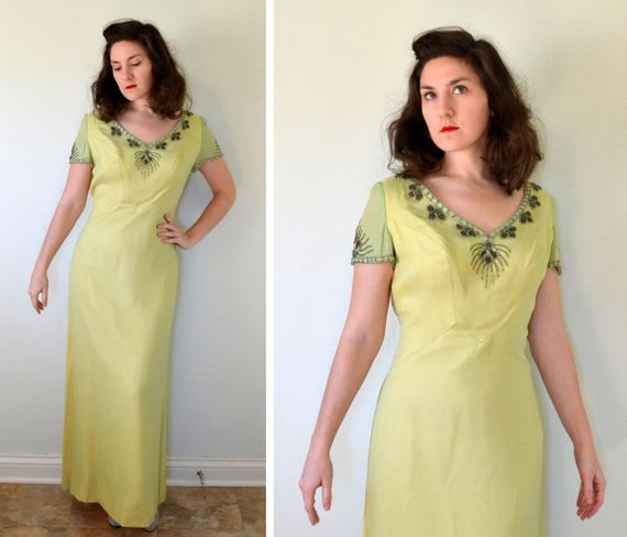 Cilantro Queen Dress | vintage 60's does 20's silk chiffon beaded evening gown | Large