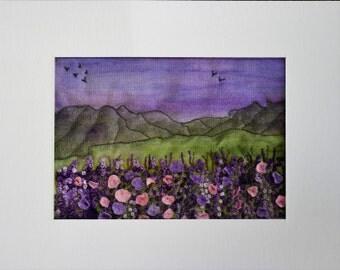 Fabric Wall Art, Picture, Original Textile Fabric Art, Flowers, Wall Art, Home Decor