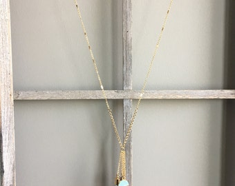 Long Tassel and Stone Necklace