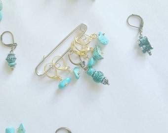 Turquoise stone stitch markers