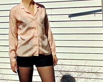 Satin Bird's of a Feather Print Peach Tailored Blouse