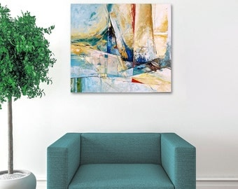 Sea Painting, Oil Painting Abstract, Boat Painting, Abstract Wall Art Canvas, Original Oil Painting, Abstract Painting, Blue Painting
