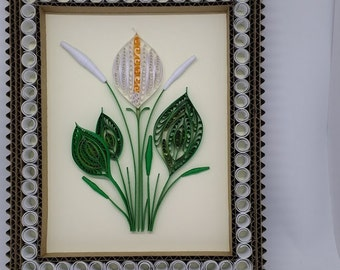Quilled Peace Lily Wall Art. Includes Hand Crafted Corrigated Frame ready for hanging.