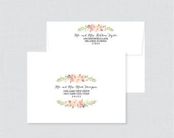Wedding Envelopes - Wedding Envelopes with Pink Flowers and Calligraphy, Rustic Wedding Name and Address, Custom Printed Envelopes 0004