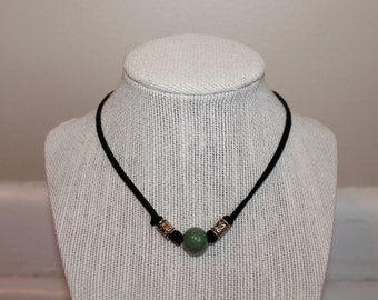 Black Choker with Green Ceramic and Gold Beads