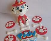 Paw patrol cake topper, Marshall , paw patrol badge, 5 paw prints and 5 bones
