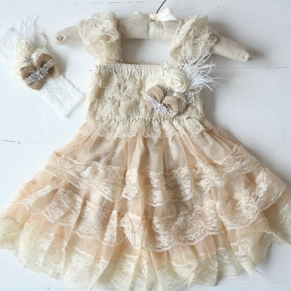 Rustic Burlap Flower Girl Dresses Country Flower Girl Dress