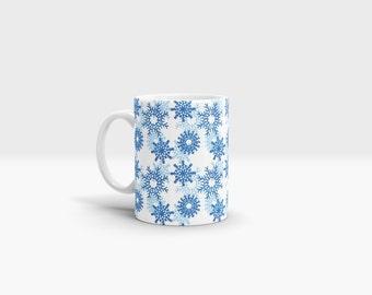 Snowflakes Mug. 11oz Ceramic Mug.