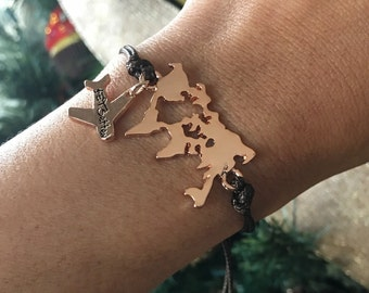 Jet Setter World Map Bracelet ROSE GOLD