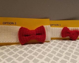 Crochet White With Red Bow Hello Kitty Headband