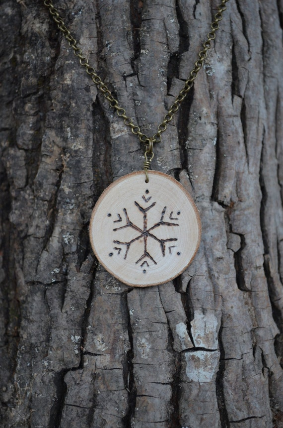 Snowflake Necklace, Wood Burned Necklace