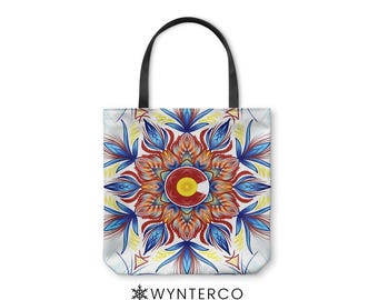 TOTE BAG - Colorado Mandala Tote Bag - Canvas tote bag, Colorado Tote Bag, Colorado shoulder carry bag, Yoga Tote Bag Wynterco Mandala tote