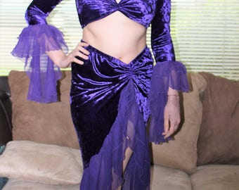 Retro 80's Boho Skirt & Halter Top Set in Purple Velvet with Bell Sleeves ~ size S/M