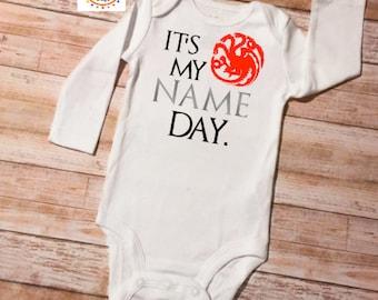 Game of Thrones, Game of Thrones Baby, Baby Shower Gift, Baby Onesie, Baby Gift, Targaryen, Name Day Onesie, Onesie, Bodysuit, Newborn Baby