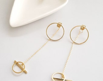 Gold Circle Dangle Ear Jacket Earrings,Circle Dangle Earrings,Circle Drop Earrings,Geo Dangle Earrings,Gold Dangle Earrings,Gold Circle Drop
