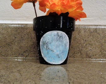Full Moon Planter // Celestial galaxy stars small house planter // Mother's Day gift // Moon phases full moon boho //