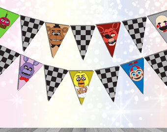 Five Nights at Freddy's Party Supplies FNAF bunting Digital Download Printable FNAF Party