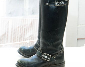 "BIKE BOOTS Women's 14"" Engineer Boot, sz 5 -- Made in USA --> Black Leather; Steel Toe"