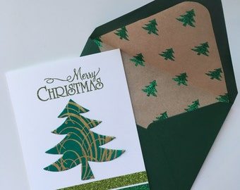 Christmas Card - Green with Gold Swirls Tree