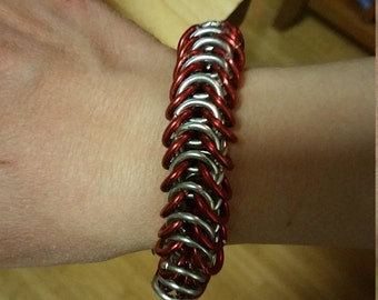 Red/Silver Aluminum Chainmaille Box Weave Bracelet
