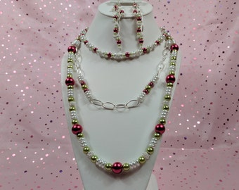 Green Apple, Raspberry, and White Glass Pearl Necklace and Earring Set