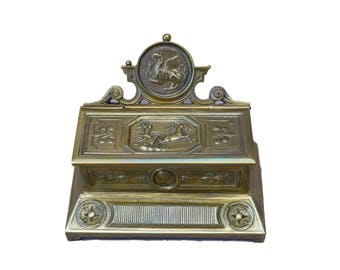 French Antique Bronze Match Striker - Neoclassical Matches Holder - Griffin Pyrogene - Renaissance Decor