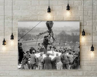 Old Washington DC Photograph, Laying Cornerstone for Lincoln Memorial, City Decor, 1915, Black and White Photo Print