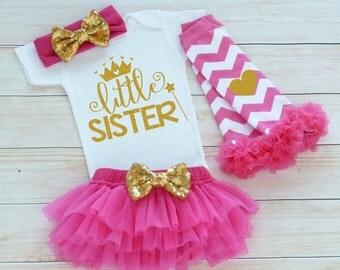 Baby Girl Outfit, Little Sister, Little Sister Shirt, Take Home Shirt, Baby Sister Outfit, Little Sister Bodysuit, Baby Girl Gift, Baby Tutu