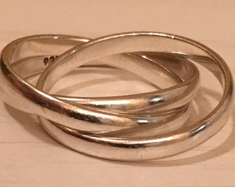 Sterling Silver 3 rolling band ring - SETA