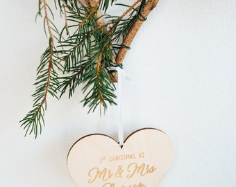 Custom Newlyweds 1st Christmas Ornament