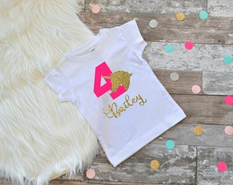 Fourth birthday shirt, 4th birthday shirt, girls birthday outfit, girls unicorn birthday, pink and gold birthday unicorn birthday shirt