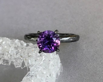 Natural Amethyst Ring, Hammered Oxidized Sterling Silver Round Amethyst Genuine Stone Solitaire Wedding Engagement & Promise Ring